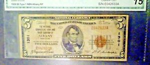 1929 $5 Albany NY Charter 1301 State Capital Note