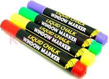 4 X Pen Liquid Chalk Window Marker White Board Green Purpule Yellow Red Set