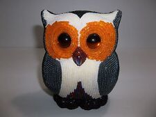 """Vintage French Glass Beaded OWL Hibou 5.25"""" SIGNED Hand Crafted"""