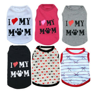 XS S M Small Dog T - Shirt Clothes I LOVE MOM for Teacup Yorkie Cat Maltese Dog