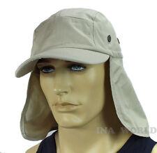 Sun Cap hat Ear Flap Neck Cover Sun Protection Baseball cap style- White Beige