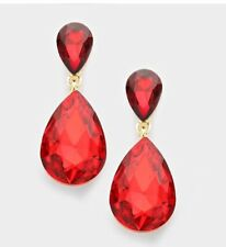 """1.7"""" Red Gold Dangle Drop Rhinestone Prom Long Crystal Pageant Earrings"""
