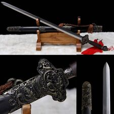 """Pattern Steel Alloy Fitting Hollow out Chinese Sword """"Dargon Jian""""(劍)Sharp Blade"""