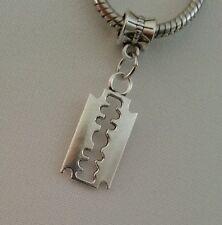 Razor Blade Cutting Shaving Pendant for Silver European Style Charm Bracelet