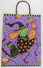 """1 Halloween Trick Treat Bag Loot Candy Paper Gift Bag 2001 Witch Purple 13.5"""""""
