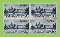 Germany - Baden 1949 30pf Engineers Congress block of four MNH