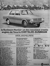 PUBLICITÉ 1966 LA SUNBEAM HUNTER L'ÉCURIE CRYSLER-SUNBEAM SIMCA - ADVERTISING