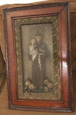 Antique St. ANTHONY of PADUA & Jesus Christ Child Statue Diorama Deep Shadow Box