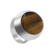 925 Sterling Silver Tiger eye Gemstone Oval Solitaire Ring Size 4.5 - 10