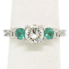 Classic Platinum 1.15ctw GIA Round Brilliant Diamond & Emerald 3 Stone Ring