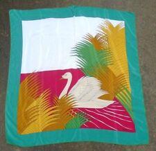 Vintage Madame Gres Paris square silk head scarf swan  print