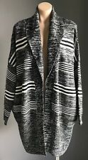 NWOT Black & White Marl & Stripe COTTON ON Chunky Knit Shawl Cardigan Size S/10