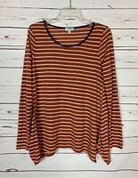 Umgee Boutique Women's S Small Orange Striped Long Sleeve Cute Top Shirt Tee