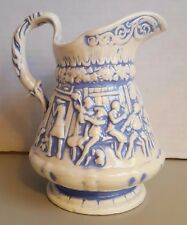 Blue Washed Pottery Pitcher Jug Raised Relief Tavern Scene from Tam O'Shanter