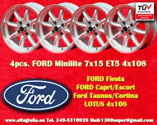 4 Cerchi FORD LOTUS TALBOT Minilite 7x15 ET5 4x108 Wheels Felgen Llantas Jantes