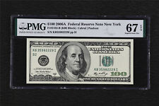 2006 Federal Reserve Note New York 100 Dollars Fr#2182-B PMG 67EPQ SuperbGem UNC