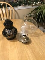 Vintage Oil Hurricane Lamp by Kaadan Ltd. Black Glass, Floral Design, Excellent