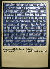 c.1970 Gutenberg Printing Transforms the World Exhibition Poster Hans Peter Hoch