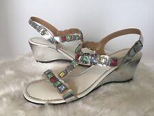 Vtg 1960s SIGNALS GLaDiaToR Stone Studded MeTaLLiC HiPPiE BoHo Sandals Shoes 7.5