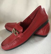 New Talbots Red Pebbled Leather Loafers Silver Links Chain sz 7B
