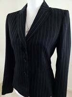Tahari ASL ~Women's Size 4~Black Striped Jacket Blazer Career Office Wear Lined.