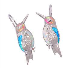 925 Silver Plated White Topaz Opal Bird Women Jewelry Dangle Drop Earrings