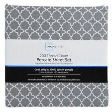 New Mainstays Gray Grey Trellis Print King Bed Sheet Set 100% Cotton