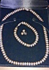 Gray Pearl Jewelry Set - Necklace Bracelet & Earrings - In Pearl Case
