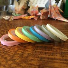 WASHI TAPE THIN SKINNY PASTEL 8 ROLL SET EACH 5MM WIDE X 5 MTRS SCRAP CRAFT PLAN
