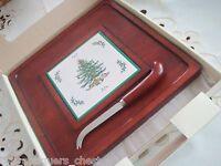 "Lenox serving tray/cheese with knife Christmas Tree pattern NIB, 12"" x 12""[a2]"