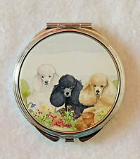 POODLE DOG LADIES COMPACT MIRROR DESIGN SANDRA COEN WATERCOLOUR PAINTING PRINT