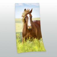 Velourstuch Duschtuch Badetuch Handtuch Strandtuch Pferde 75 x 150cm