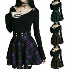 Women Skirts A-Line Belt Plaid Lace Up Mini Pleated Ball Gown Skirt Plus Size