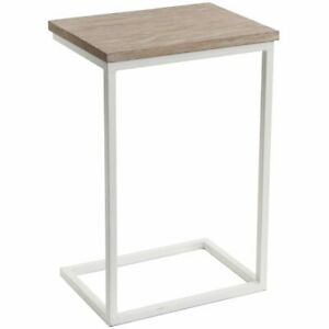 Rectangular Southwold White Sofa/Side Table with Wooden Top by Tobs
