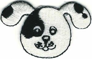 Cartoon Black White Puppy Dog Head Portrait Embroidery Patch