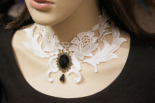 Women Retro Costume Choker Gothic Victorian White LACE Necklace Neck Pendant