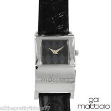 Brand New Quartz WATCH by GAI MATTIOLO w/ Black LEATHER Band from ITALY