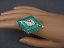 Turquoise Cream geometric diamond shape Gold tone big cocktail ring adjustable