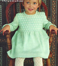 TODDLERS DRESS  KNITTING PATTERN IN 4 PLY                (554)
