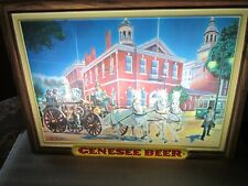 Genesee Beer Sign lighted shadow box horse drawn fire truck pumper Rare