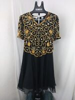 Vintage Laurence Kazar Black and Gold Heavily Beaded and Sequined Cocktail Dress