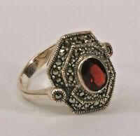 9927865 925er Silber Granat-Markasit-Ring Gr.56  Vintage
