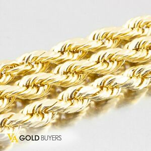"""Man's 10k Yellow Gold Rope Chain Necklace & Bracelet Combo - 26"""""""