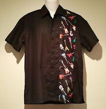 Rockabilly Men's Black Shirt > Guitar Print Rock n' Roll > LIMITED STOCK size S