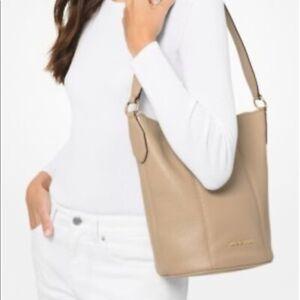 * TEST Brooke Bucket Messenger Bag Beige Leather 35T0G0KM8L NWT $378 FS