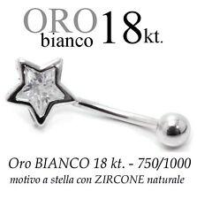 Piercing ombelico belly ORO BIANCO 18kt. a STELLA con zircone taglio BRILLANTE