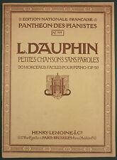 PARTITION PIANO LEMOINE - L. DAUPHIN - 20 MORCEAUX FACILES - PANTHEON n°999