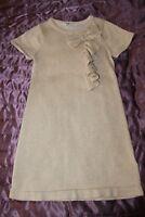 (S11)H&M cream cotton& lurex girls long sleeve dress  bow& frill age 6-8 years