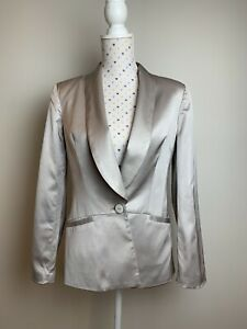 SEDUCE Size 8 Fits 10 Blazer Jacket Silver Party Cocktail Lined