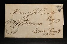 Ohio: Wooster 1852 Stampless Cover, Black CDS, PAID 3 in Arc, Wayne Co